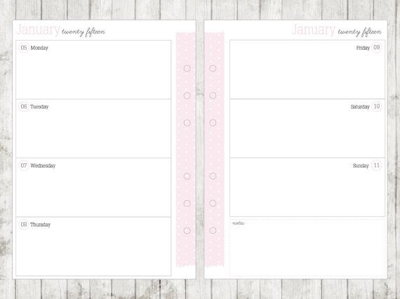 A5 2015 Week on 2 Pages Calendar Printable by ...