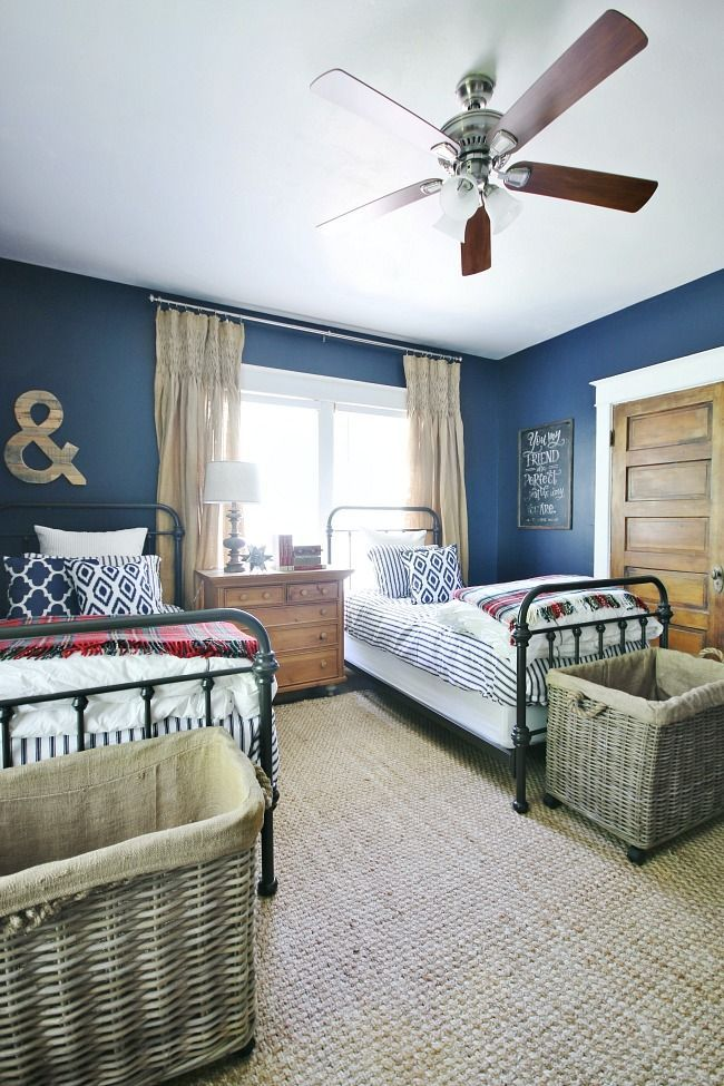 Vintage Navy Red And White Bedroom Reveal Blue Bedroom Decor
