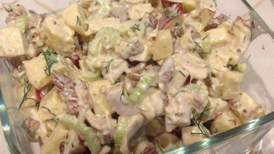Fill pita bread or line plates with lettuce and place scoops of this crunchy apple, celery, walnut and turkey salad on top.