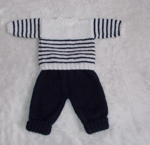 bebe naissance : pull marin et pantalon tricot en laine