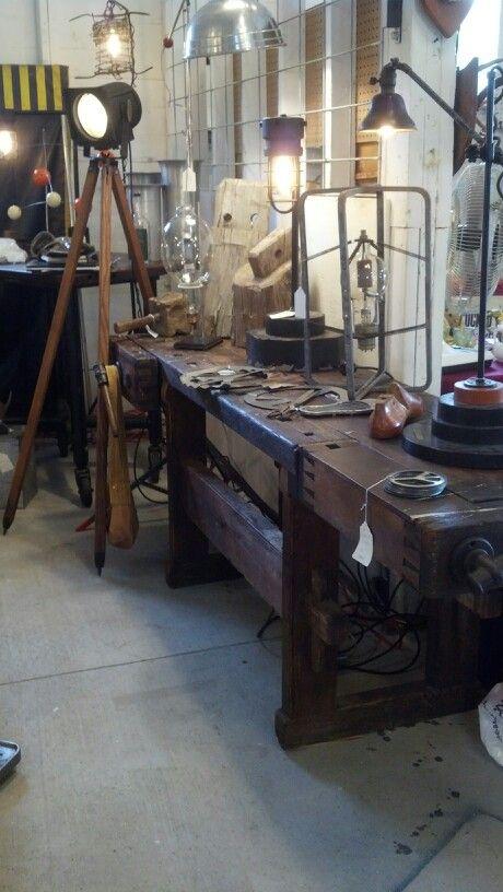 Restored work bench. Console table, entertainment center... The art of salvage. www.frederickklassjr.com