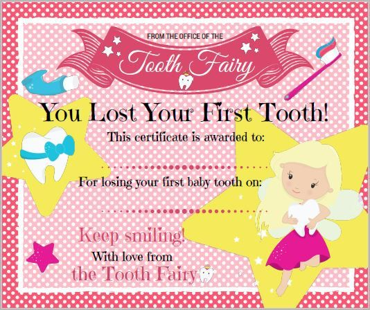 Certificate from the Tooth Fairy by MerryElfmas on Etsy