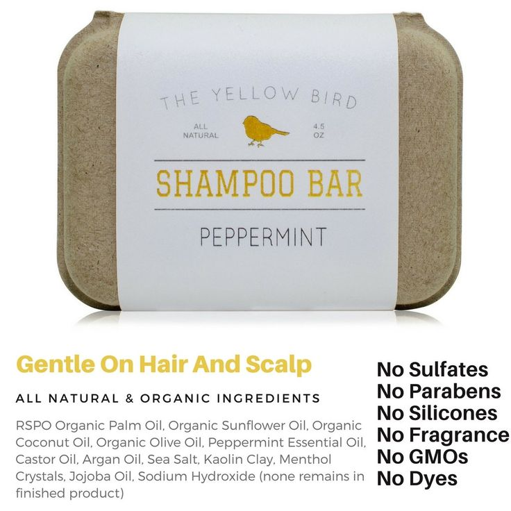 Peppermint shampoo bar which contains no synthetic fragrances or perfumes. An all natural shampoo alternative! Using a bar form means we can use way less preservatives than would be in a liquid shampoo!