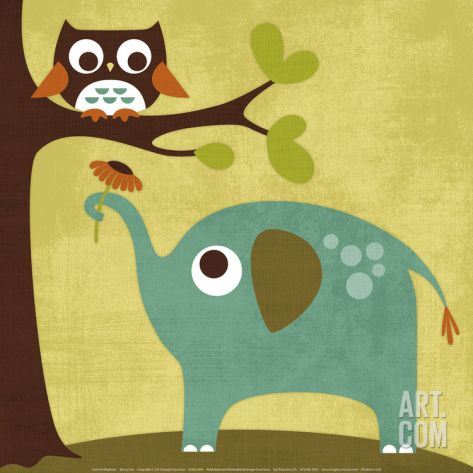 Owl and Elephant Print