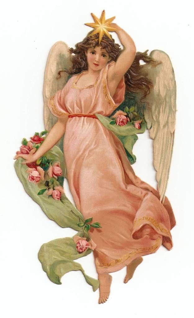 Victorian Die Cut Angel Star Christmas Scrap