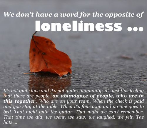 the opposite of loneliness essays