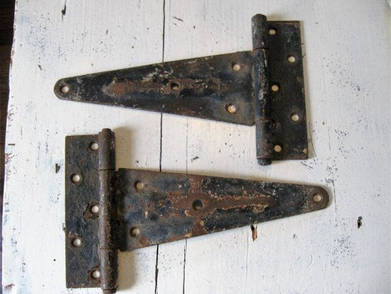 Old Barn Door Hinges Antique Salvaged Iron Large by PoemHouse