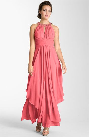 LOVEEEEEE this for gab too    Eliza J Embellished Tiered Chiffon Halter Gown available at Nordstrom