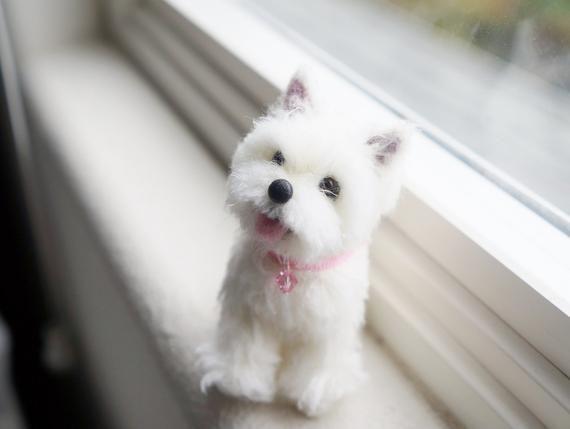 Nadel Gefilzt Westie Welpen Hund Portrait Skulptur Wolle West Highland White Terrier Hund Filz Tier Miniatur Hund Blythe Zubehor Plstenie