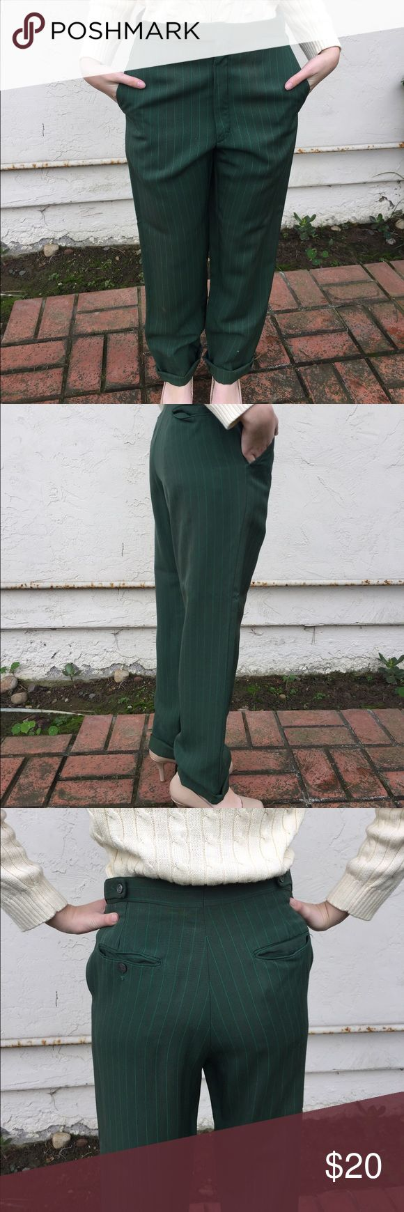 Ladies dark green slacks Women's dark green pinstriped slacks. Two front and two back pockets, cuffed pant legs. High waist, straight leg. Dark green with lighter green pinstripes. Button, zipper, and hook fastener. Great work pant. No tag, so no idea brand, size is probably 4-6, as the model in pics is size 2 and they were loose on her. Pants Trousers