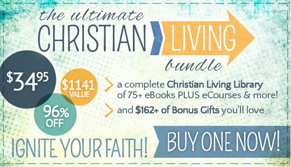 If you've been wanting to be more prayer-filled and faith-fuelled, you'll LOVE this library of Christian living resources designed to infuse your everyday family life with prayer, Bible study, worship and more! 75+ solid Biblical eBooks, eCourses, and more on parenting, finance, marriage, Christian classics and more for only $34.95!!! Available only for 6 days so get yours now!