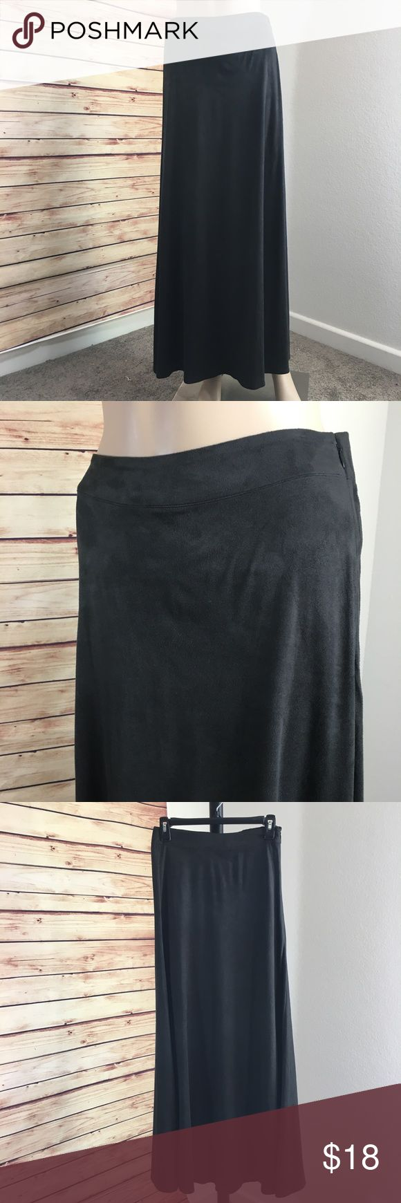 """Marc Bouwer charcoal maxi skirt Brand: Marc Bouwer Size: XXS Details: color is like a dark charcoal grayish black, hidden side zipper Waist measurement (laying flat): 12.5"""" Length: 39"""" Material: 95% polyester, 5% spandex  Condition: preloved, excellent Marc Bouwer Skirts Maxi"""
