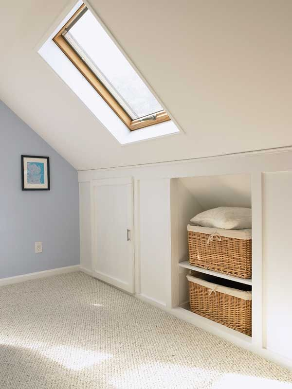 I like the idea of putting specific areas in the attic bedrooms for basket storage. Good for sheets in the spare room or extra bedding.