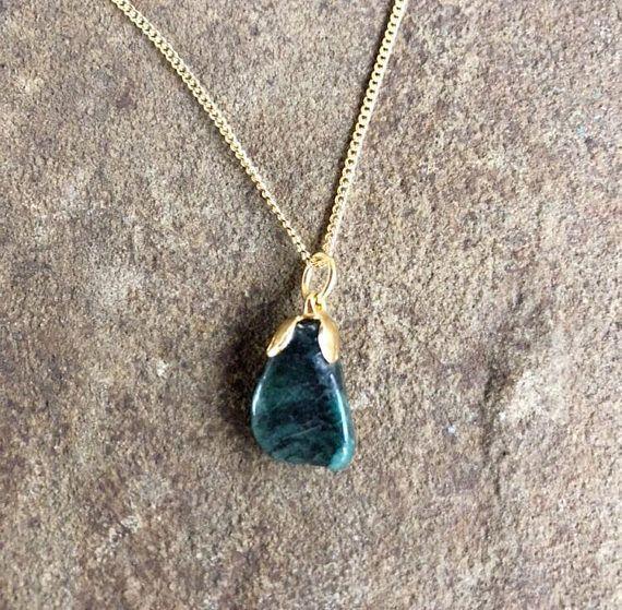 Emerald Gemstone Necklace Emerald Stone Necklace Tumbled