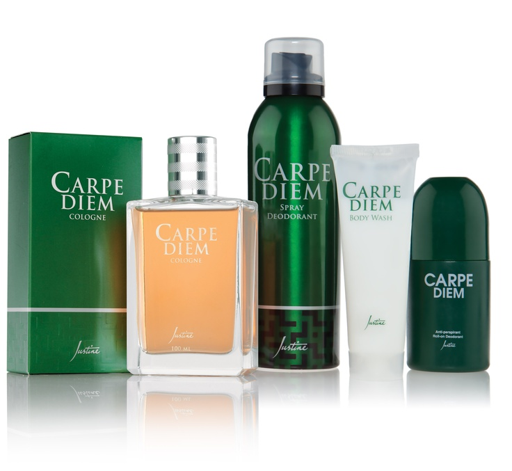 1. Carpe Diem Cologne   100 ml   Code 4430       2. Carpe Diem Spray Deodorant   225 ml     3. Carpe Diem Body Wash  50 ml   Code 6258    4.Carpe Diem Anti-perspirant Roll-on Deodorant  75 ml   Code 4438     For more information - http://www.justine.co.za/PRSuite/home_page.page