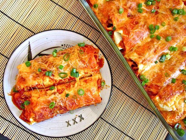 Chorizo and Sweet potato enchiladas. Sounds yummy, going to try this!