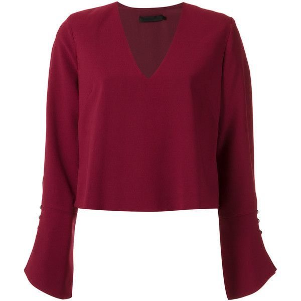 Giuliana Romanno Long Sleeves Blouse ($196) ❤ liked on Polyvore featuring tops, blouses, purple top, long sleeve tops, v neck blouse, long sleeve v neck blouse and purple long sleeve top