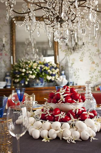 Tablescape - a Greek Orthodox Easter Tradition - The brilliant red eggs symbolize the blood of Christ & are the focal point of this tablescape. They are combined with the beautiful white eggs, a reminder of Spring & rebirth. Together they are breathtaking & far more exciting than flowers.