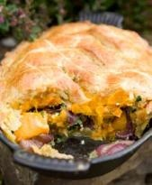 Crown prince squash, Ticklemore cheese and spinach pie - from The Field Kitchen at Riverford