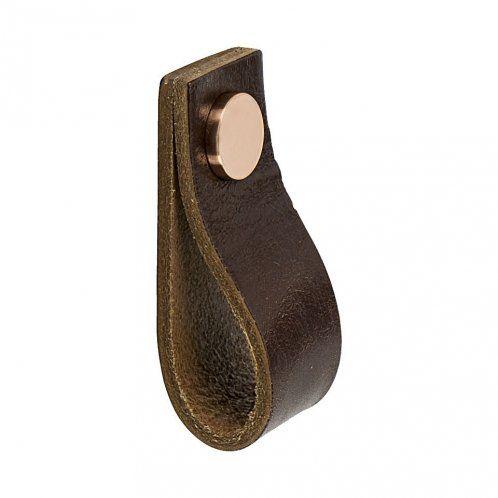 Möbelknopf Loop - Braunem Leder / Kupfer - Beslag Design