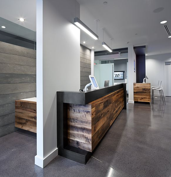 1000 images about unique wood reception desks on for Cool office reception