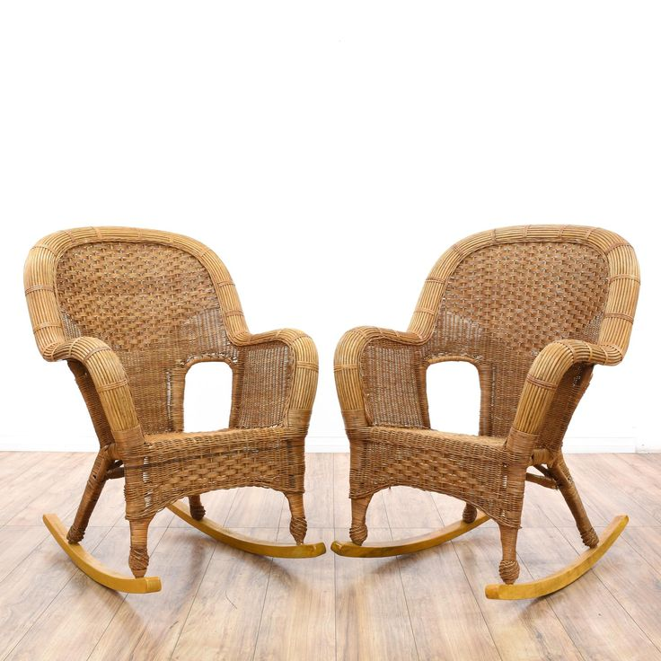 This pair of tropical rocking chairs is featured in a woven wicker with a honey finish. Each bohemian style chair has curved arms, open sides, and high rounded back. Perfect for hanging out on the patio! #bohemian #chairs #rockingchair #sandiegovintage #vintagefurniture