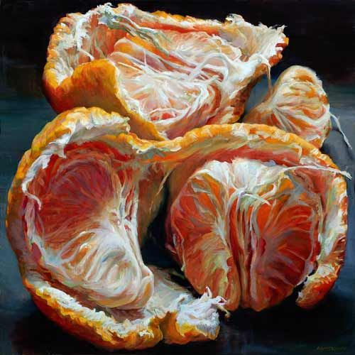 Tangerines Unfurled watercolor by Andrea Kantrowitz