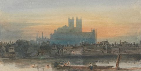 David Cox, 1783–1859, British, Westminster from Lambeth, ca. 1813, Watercolor on medium, moderately textured, cream wove paper, Yale Center for British Art, Paul Mellon Collection