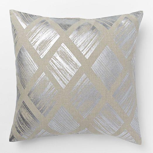 Metallic Diamond Pillow Cover – Silver | west elm