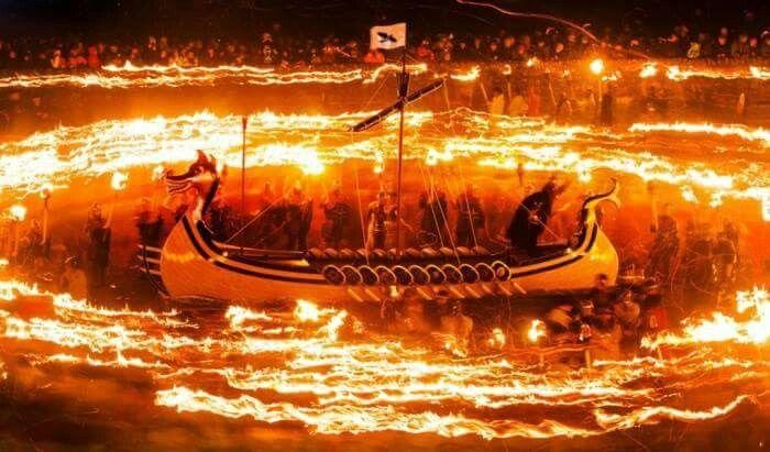 Long ship burning