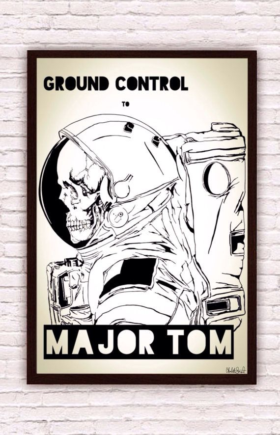 Ground Control to Major Tom // David Bowie lyrics // Astronaut Skeleton Skull Poster Print by SargentIllustration, $30.00