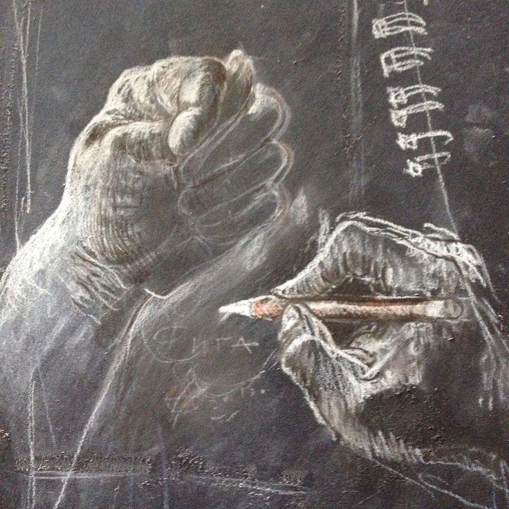Руки карандаш черная бумага