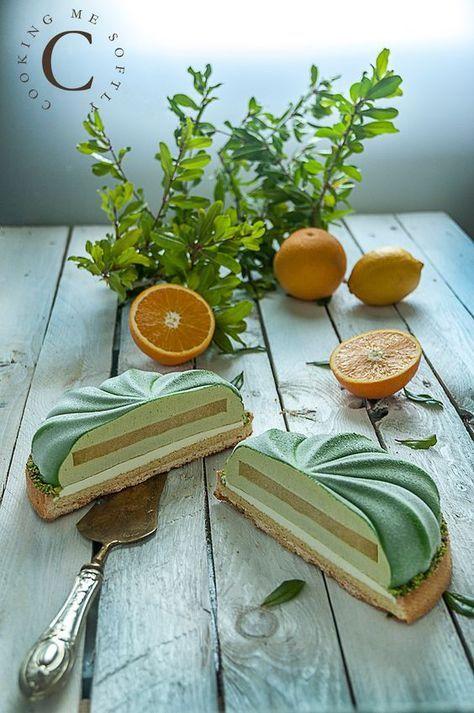 Crostata moderna di agrumi e pistacchio: pate sucrèe al limone di Michalak, crema di mandorle, namelaka al limone, gelée di arancia, bavarese al pistacchio