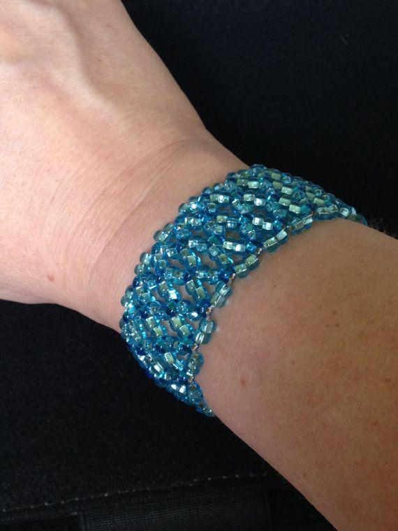 Blue Beaded Stretch Bracelet