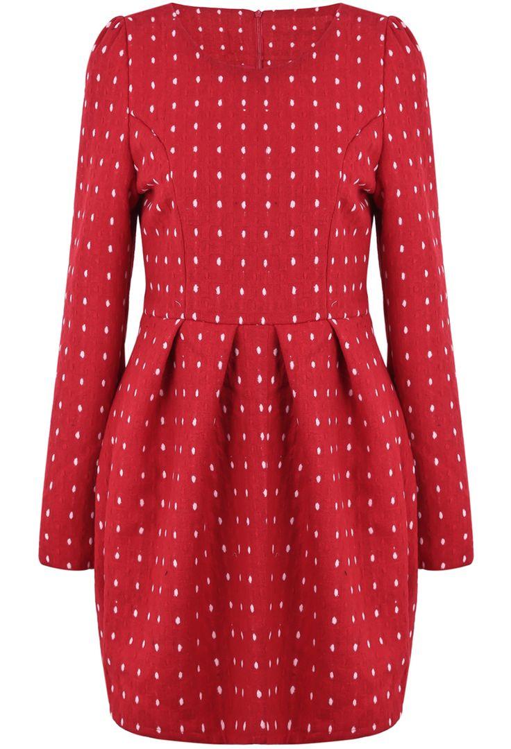 Red Long Sleeve Polka Dot Pleated Dress - Sheinside.com
