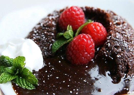FAVORITE, easiest recipe for molten lava cake! Tastes delish and I usually top it with a Bailey's Irish Cream ganache and a dollop of whipped cream. Yum yum!