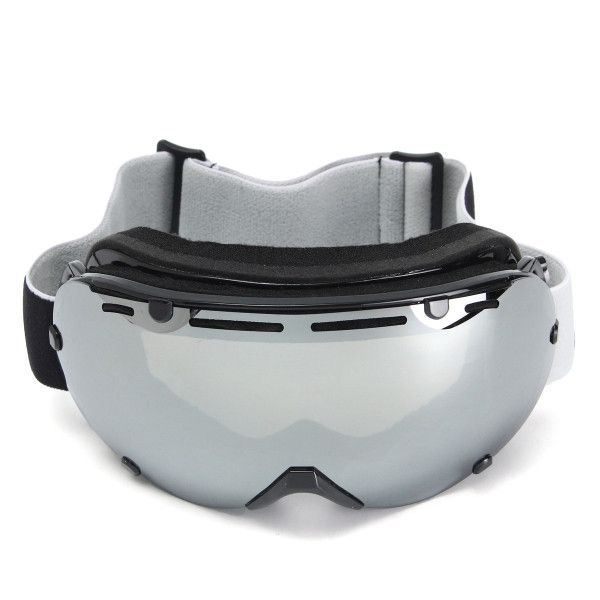 Universal Ski Goggles Dual Lens Mirror Snowboard Outdoor Sports Glasses Windproof Anti-UV Silver
