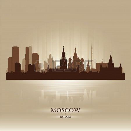 Moscú Rusia horizonte de la ciudad silueta Foto de archivo - 18259224
