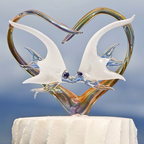 Two dichroic angelfish in heart cake topper by MauiGreenstone, $650.00