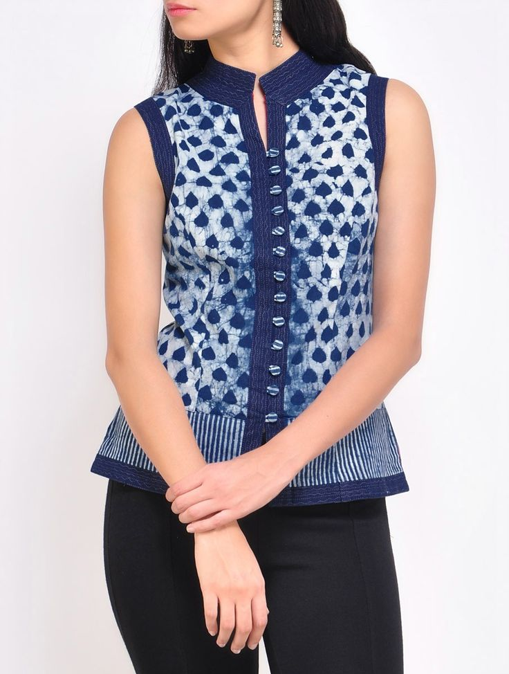 Buy Ivory Indigo Cotton Waist Coat Online at Jaypore.com