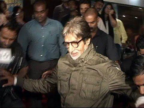 Amitabh Bachchan slips at the premier of BOL BACHCHAN.