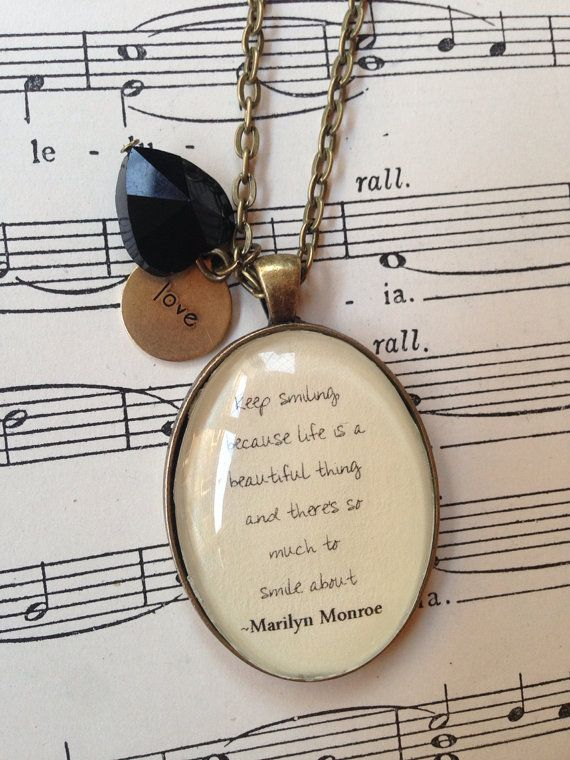 Marilyn Monroe quote necklace keep smiling