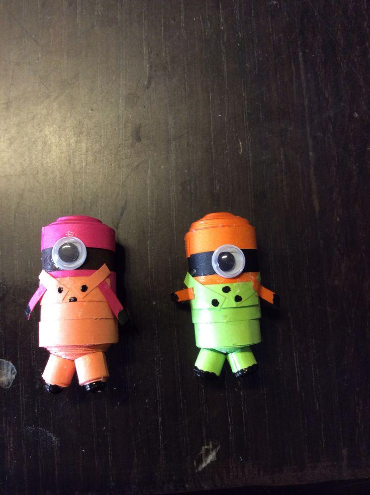 Cute little colored minion fridge magnets