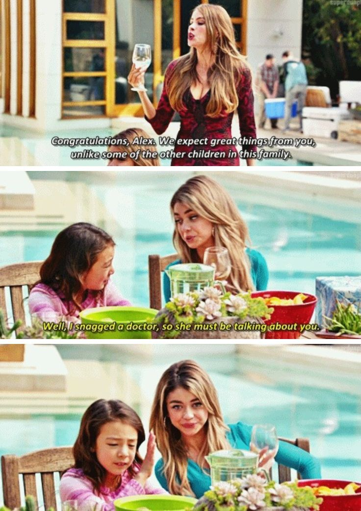 """""""Well, I snagged a doctor, so she must be talking about you"""" - Gloria, Haley and Lily #ModernFamily"""