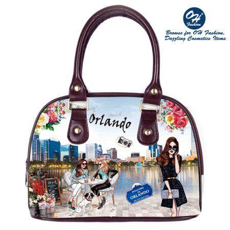 OH Fashion Women Tote Magnificent Orlando PU Leather, Travel, Beach, Big Handbag with zipper, makeup organizer Retro & Vintage, Women's, Brown