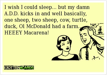 I wish I could sleep... but my damn A.D.D. kicks in and well basically, one sheep, two sheep, cow, turtle,   duck, Ol McDonald had a farm...   HEEEY Macarena!: Favorite Ecards, A D D, My Life, Can'T Sleep, So True, Add, Funny Stuffp, Rotten Ecards, Funny Stuff P