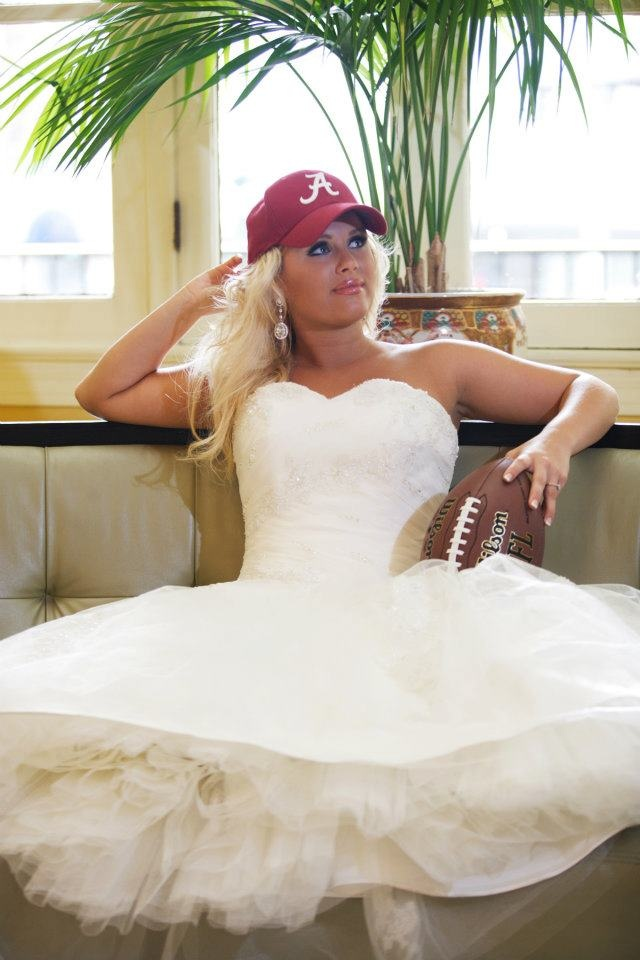 Bride in her Crimson and White Cap. ~ check out ~ RollTideWarEagle.com ~ great sports stories, audio podcast and FREE on line tutorial of college football rules. #CollegeFootball #RollTide #Alabama Red