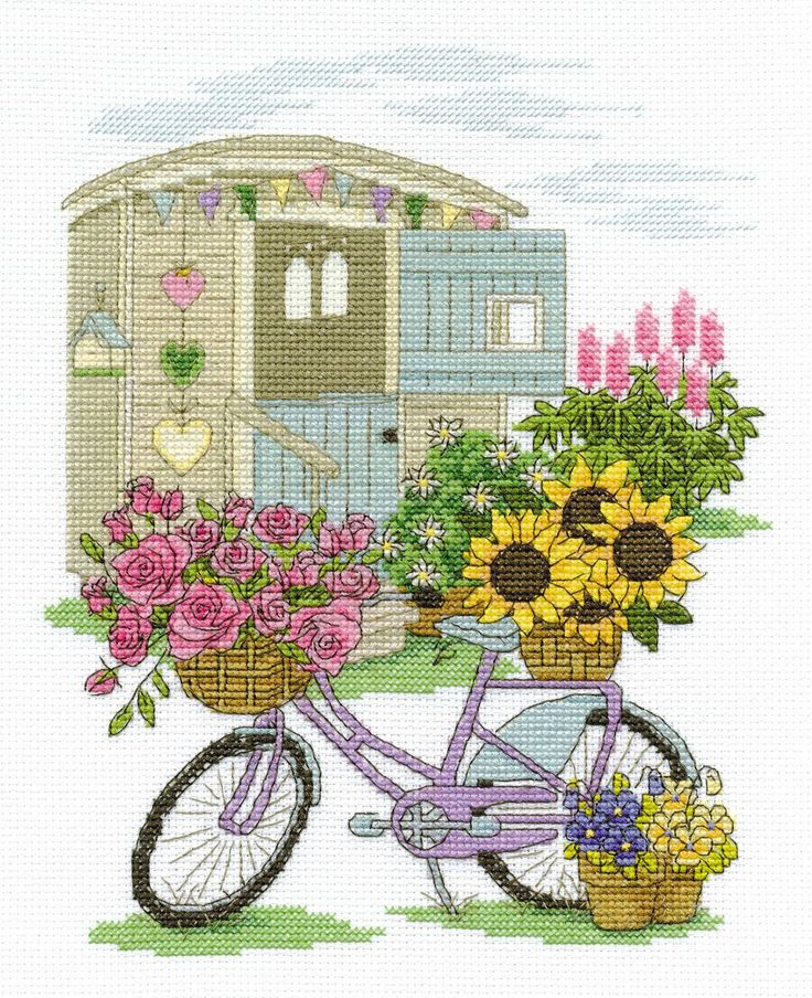 Flowery Bicycle Cross Stitch Kit - £15.00 on Past Impressions | by DMC