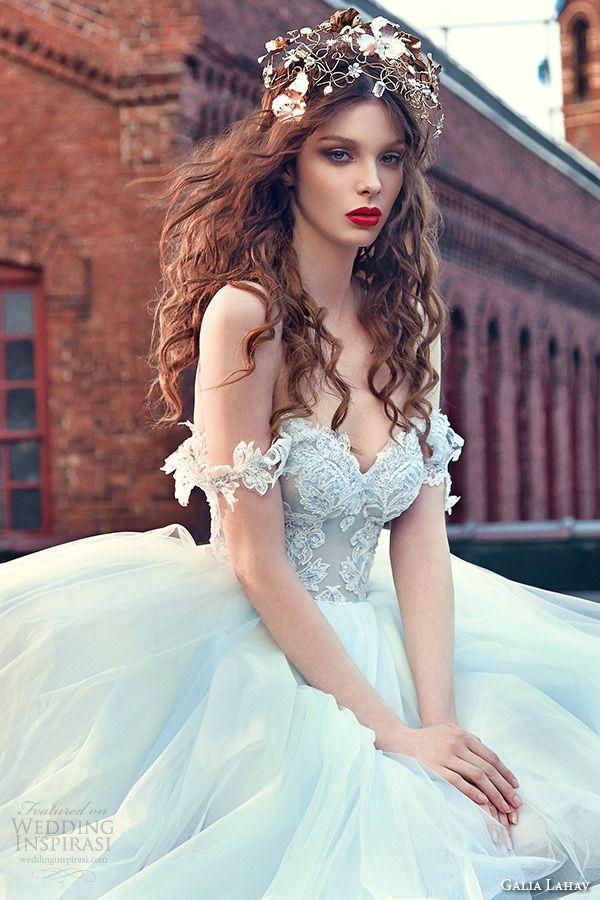 galia lahav spring 2016 bridal dresses off the shoulder sweetheart neckline corset emebroidered bodice wedding ball gown dres cinderella closeup