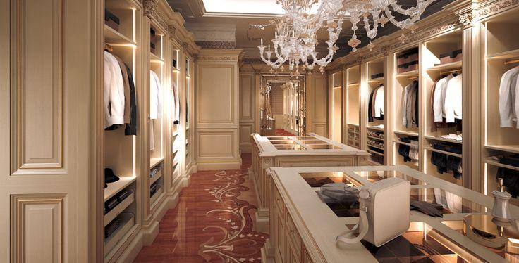 Rendering fotorealistici 3D di guardaroba e cabine armadio in stile classico - Inside Studio Architettura d'Interni cliente FAOMA